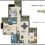2 BHK , 1025 sq ft,Krish Aura