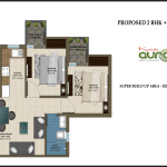 2 BHK , 820 sq ft ,Krish Aura