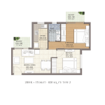 FloorPlan - 2BHK+1T - 820 - Type 2 - Krish Icon