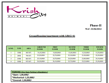 Price List of Krish City Phase 2