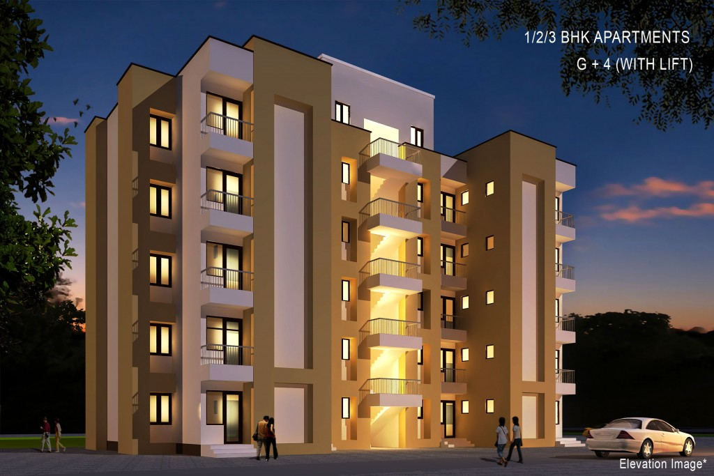 Studio Apartment Elevations elevation images | krish group | property in bhiwadi| flats in