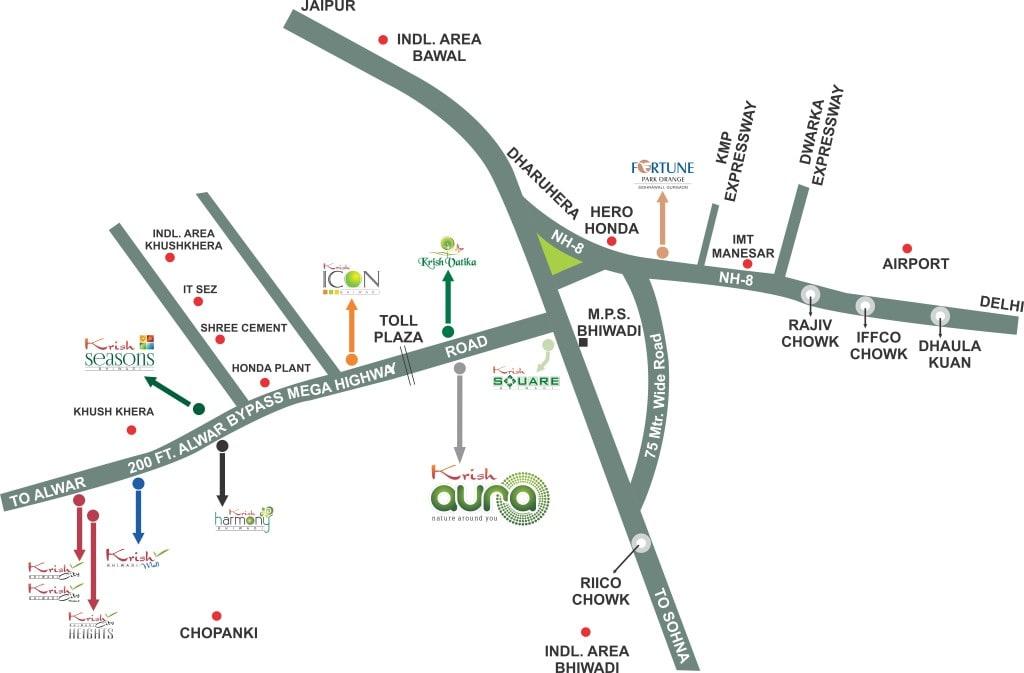 Krish Aura Location Map in Bhiwadi